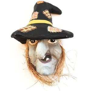 Vintage Paper Mache Halloween Witch Face Mask 1950